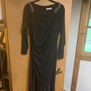 Teri Jon Black Embellished Matte-Jersey Gown